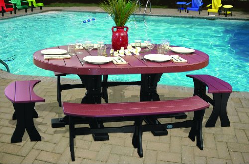 (Furniture Barn USA Outdoor 4 Foot x 6 Foot Oval Table and 4 Benches - Cherrywood and Black Poly Lumber - Recycled Plastic)