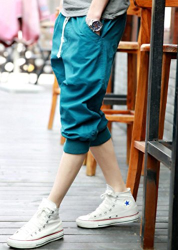 【WildCats】メンズ春夏秋用ジョガーパンツ風7分丈クロップドパンツ女子にも好印象のカジュアルパンツ若者に人気-GreenXXL(エコバッグ付き)