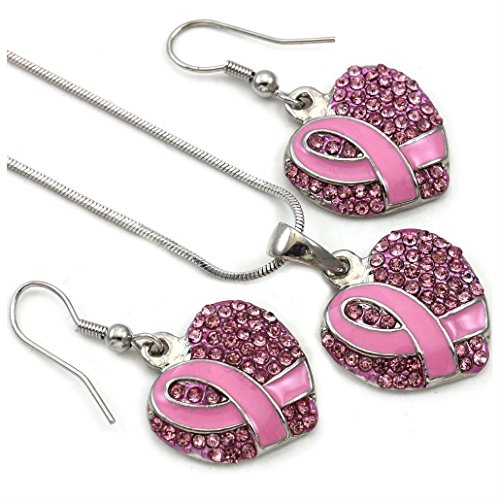 Breast Cancer Awareness Pink Ribbon Heart Necklace Pendant Dangle Earring Set s1