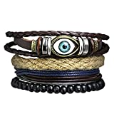 The Jewelbox Zivom Eyes Multilayer Handcrafted Black Leather Charm Wrist Band Multi Strand Bracelet Men