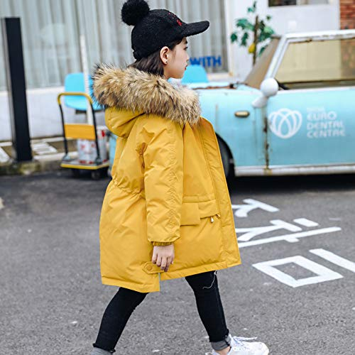 FDSAD Warme Jacke Im Freien Neue Kinder Im Freien Warme Jacke Mädchen Lange Koreanische Version des Mädchens Dicke Kinderkleidung Für Höhe 150Cm Gelb