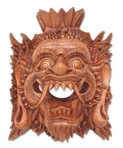 Amazon.com: NOVICA decorativos Suar Máscara de madera, café ...