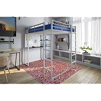 dhp abode full size loft bed metal frame with desk shelves and ladder silver. Black Bedroom Furniture Sets. Home Design Ideas