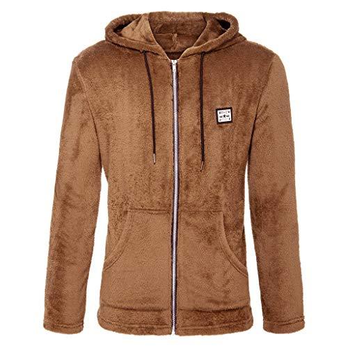 FANSHONN Men's Casual Hooded Jackets Full Zip Double-Sided Plush Warm Coat Fashion Outwear