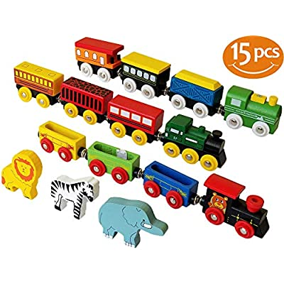 ToysOpoly Wooden Train Set 12 PCS - Magnetic Engines With 3 Bonus Animals - Deluxe Toys For Kids Toddler Boys and Girls - Compatible to Thomas Railway, Brio Tracks, and Major Brands - 4009424 , B01N9MF8Q3 , 454_B01N9MF8Q3 , 20.99 , ToysOpoly-Wooden-Train-Set-12-PCS-Magnetic-Engines-With-3-Bonus-Animals-Deluxe-Toys-For-Kids-Toddler-Boys-and-Girls-Compatible-to-Thomas-Railway-Brio-Tracks-and-Major-Brands-454_B01N9MF8Q3 , usexpress.v
