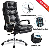 High Back Big and Tall Leather Office Chair - Adjustable Angle Recline Locking System Executive Computer Desk Chair, Thick Padding For Comfort and Ergonomic Design For Lumbar Support