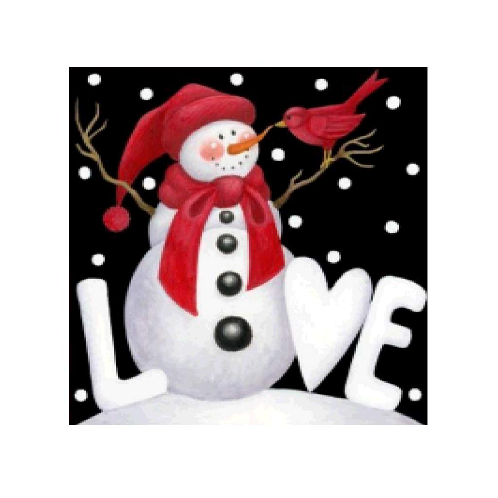 Simdoc Snowman Love Pattern 5D Full Diamond Embroidery Painting DIY Handmade Rhinestone Embroidery Cross-Stitching Set for Xmas Home Decor Art Craft Gift