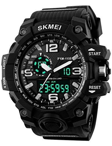 (Carrie Hughes Men's Digital Watch 50M Waterproof Large Dual Dial Multifunction Analog Military Outdoor Sports Electronic Watch Calendar Day Date (White) )