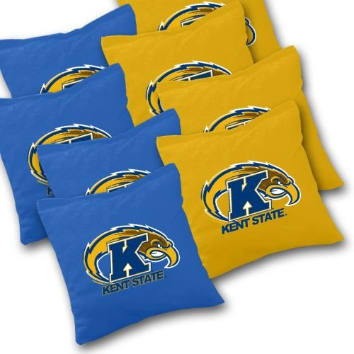 KENT STATE GOLDEN FLASHES Cornhole Bags SET of 8 Officially Licensed ACA REGULATION Baggo Bean Bags ~ Made in the USA (Kent Golden Light)