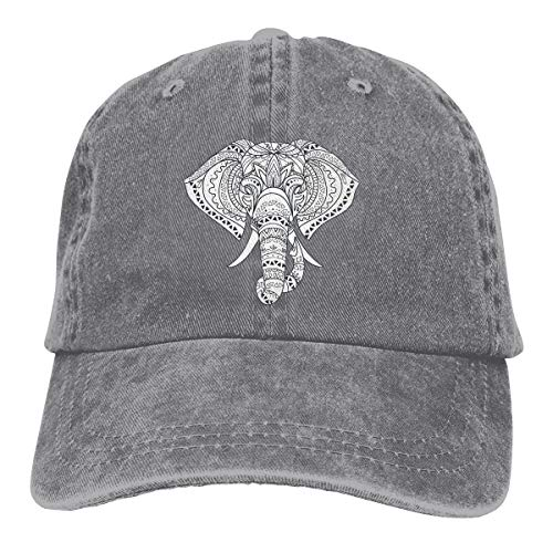Sakanpo Elephant with Ornate Tribal Tattoo Unisex Cowboy Baseball Caps Dad Hats Gray