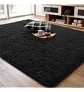 Ompaa Soft Fluffy Area Rug for Living Room Bedroom, 5x8 Black Plush Shag Rugs, Fuzzy Shaggy Accen...