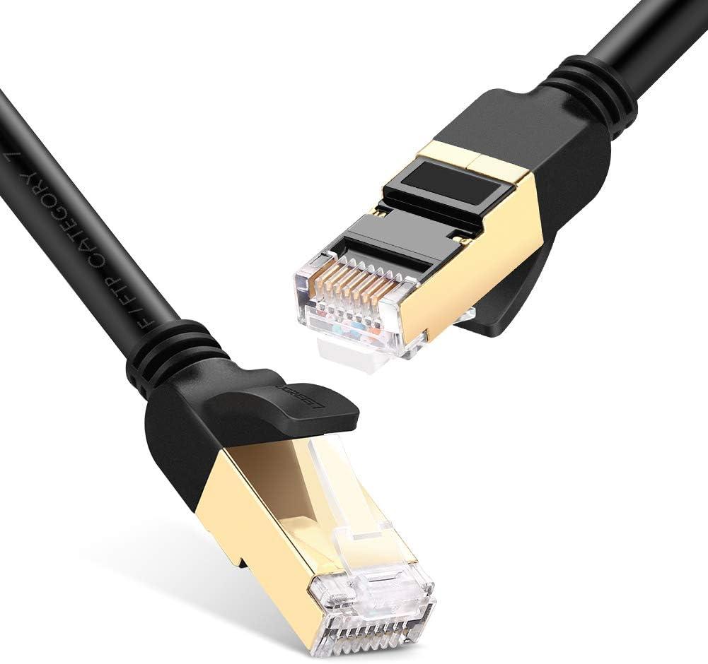 UGREEN Cable de Red Cat 7, Cable Ethernet LAN 10000Mbit/s con Conector RJ45 (10 Gigabit, 600MHz, Cable FFTP) para PS5, Xbox X/S, PC, Compatible con Cat 6, Cat 5e, Cat 5, Cable