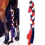 Intrepid International Tailwrap Fleece Tail Braid, Long, Red/White/Blue