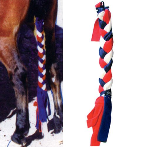 Intrepid International Tailwrap Fleece Tail Braid, Long, Red/White/Blue - Tail Wrap