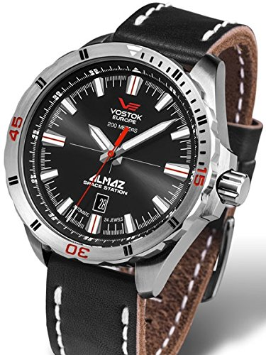 Vostok-Europe Almaz 24-Jewel, Automatic Watch with Black Dial 320A258