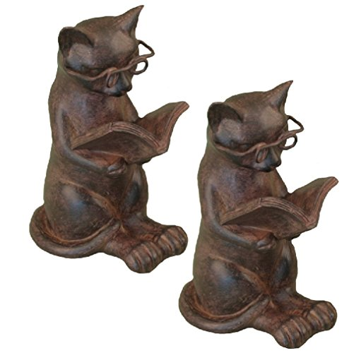 youngs (Set/2) Cat Reading Book Resin Figures - Kitten Lovers Bookends - Home Décor