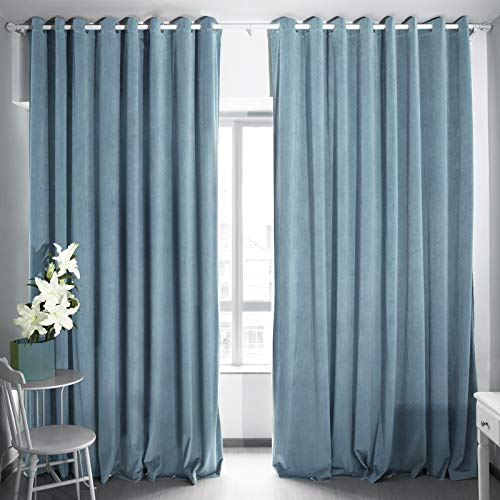 Eamior Blackout Patio Door Curtain Panel, Extra Wide Grommet Velvet Curtains for Sliding Glass Door Thermal Insulated Drapery: 100 Wide by 108 Inches Long - Stone Blue