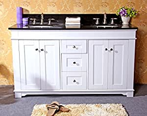 "Legion Furniture WLF6018-60W/AB 60"" Double Sink Bathroom Vanity and Absolute Black Granite Top, White Finish"