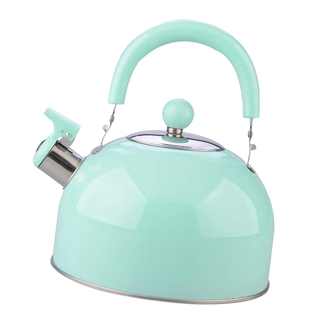Prettyia Whistling Tea Kettle Induction Stovetop Teapot 2.5L Quick Boiling, Rust Resistant, Stainless Steel Whistle Pot for Home Kitchen Restaurant Cafe - Green