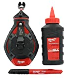 Milwaukee 48-22-3982 100 Ft. Bold Line Chalk Reel w/ Strip Guard Gearbox (3 Oz. of Red Chalk and Bonus Inkzall Fine Point Job Site Carpentry Marker Included)