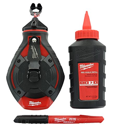 - Milwaukee 48-22-3982 100 Ft. Bold Line Chalk Reel w/ Strip Guard Gearbox (3 Oz. of Red Chalk and Bonus Inkzall Fine Point Job Site Carpentry Marker Included)