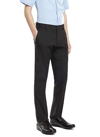 Integriti UK Ages 9-16 Boys Slim Fit School Trousers Black Grey Skinny Leg School Trousers Pants Adjustable Waistband 24-42