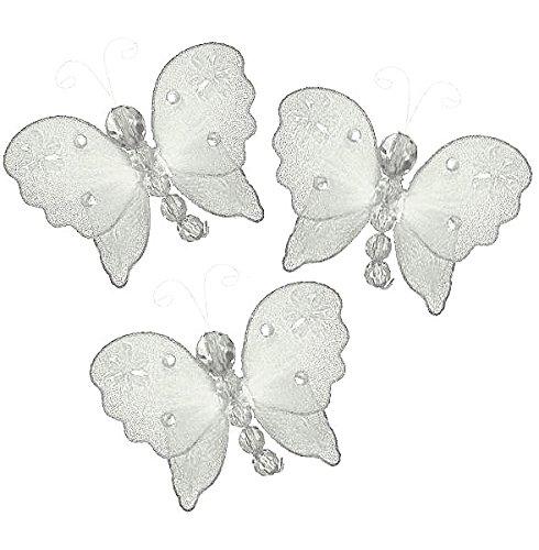 The Butterfly Grove Emily Decoration 3D Hanging Mesh Organza Nylon Decor, Plumeria White, Mini, 3