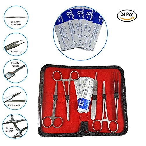 Suture Kit with Needles - Suture Practice Kit Includes Suture Pad,Sterile Sutures,Needle Driver|24 Piece|Stitch kit for Anatomy & Science Classes,Veterinary Students Hospital Training Kit, Nurses by Rad Mile