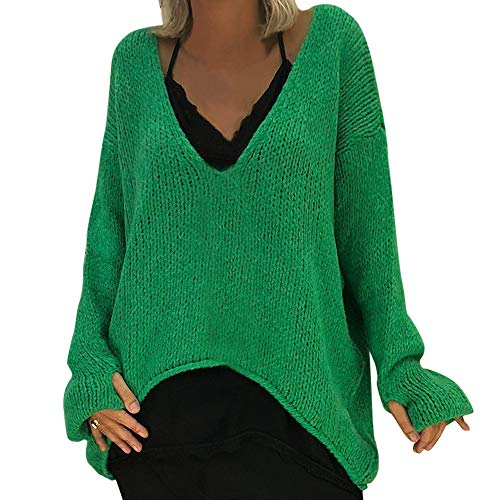 (YKARITIANNA Women Warm V-Neck Sweater Solid Soft Long Sleeve Sweater Casual Knitted Sweater Cable Knitted Tops)