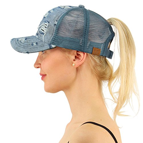 C.C Ponytail Messy Buns Trucker Ponycaps Plain Baseball Visor Cap Dad Hat Denim Blue