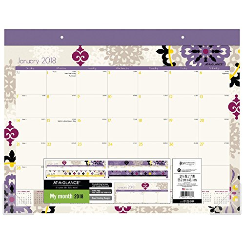 "AT-A-GLANCE Monthly Desk Pad Calendar, January 2018 - December 2018, 21-3/4"" x 17"", Large, Vienna (D122-704)"
