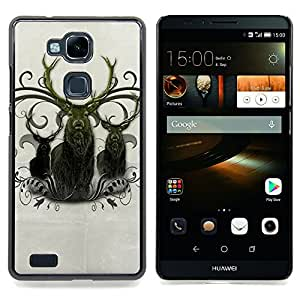 Queen Pattern - FOR HUAWEI Ascend Mate 7 - Deer Antlers Majestic Animal Northern - Cubierta del caso de impacto con el patr???¡¯???€????€????&su