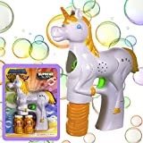 Windy City Novelties Unicorn Light-up Bubble Gun Blaster with 2 Bubble Solution and Batteries Included for Girls and Boys