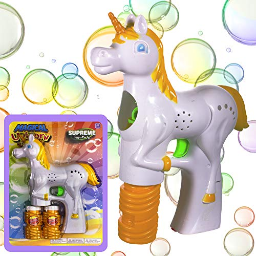Windy City Novelties Unicorn Light-up Bubble Gun Blaster with 2 Bubble Solution and Batteries Included for Girls and Boys by Windy City Novelties