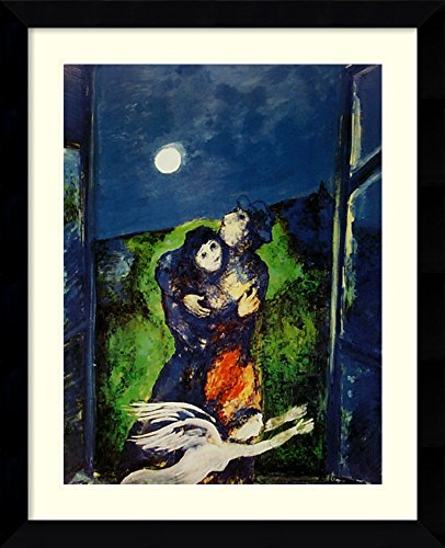 Framed Wall Art Print Lovers in The Moonlight by Marc Chagall 27.38 x 33.62