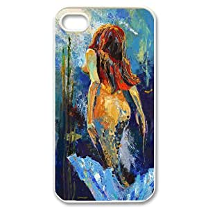 Diy Beautiful Little Mermaid Pattern Customized for iphone 4s White Back Cover Phone Case