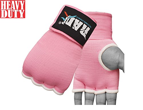 RAD Pro Boxing Gel Gloves,MMA,Grappling Gloves with Hand Wraps,Inner Gloves,UFC (Pink, Small)