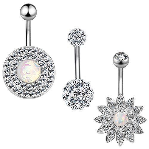 3Pcs Belly Button Rings 14G CZ Navel Rings Stainless Steel Body Piercing Jewelry (3Pcs Crystal Clear 14G=1.6mm)