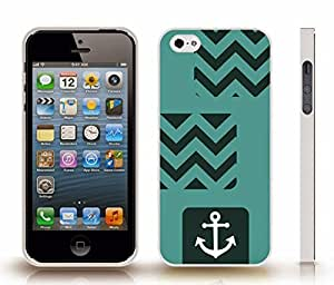 iStar Cases? iPhone 5/5S Case with Chevron Pattern Dark Teal/ Teal Stripe White Anchor , Snap-on Cover, Hard Carrying Case (White)