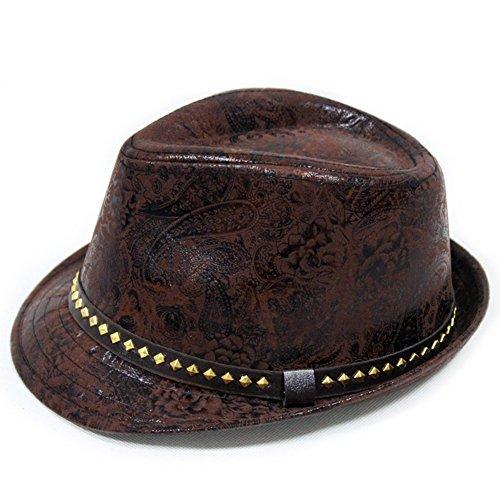 LOCOMO Paisley PU Leather Fedora Short Upturn Brim Hat Cap Cuban FFH247BRN by LOCOMO Hats