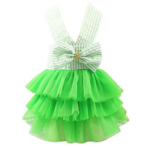 Wakeu Small Dog Girl Dress Pet Puppy Cat Lace Tutu Stripe Vest Skirt Clothes (M, Green)