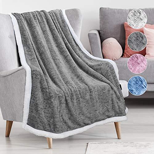 "Tirrinia Sherpa Throw Blanket Snow 50"" x 60"", Super Soft Micro Fleece Plush Bed Throw TV Blanket Reversible Dark Grey"