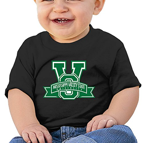 JJVAT Baby's Mississippi Valley State University Shirts For 2-24 Months Unisex Black (Spider Valley Plate)