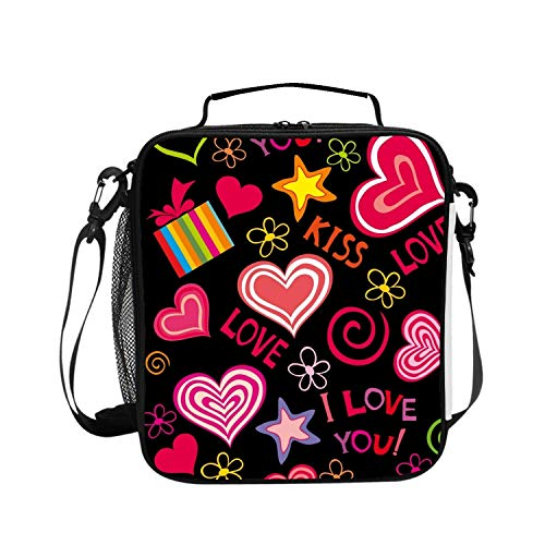 (Love Hearts Sweet Vector Lunch Bag Lunchbox Food Container Tote Cooler Warm Pouch with Shoulder Strap)