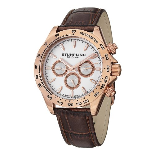Stuhrling Original Men's 564L.03 Triumph Swiss Quartz Multifunction Rose Tone Watch (Baby G Shock Watches Women Red)