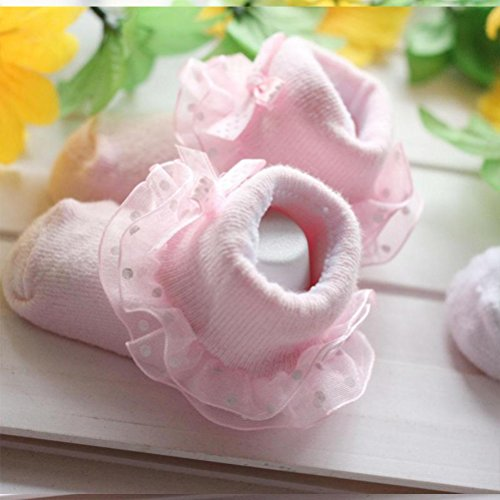 Zhhlinyuan Cute Bebé Lace Side Keep Warm Socks Comfortable Breathable Princess socks Pink