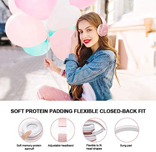 Ifecco Bluetooth Headphones, 4 in 1 Upgrade Bluetooth Foldable Over-Ear Headsets with Micro Support SD TF Card for Bluetooth-Enabled Devices Rose Gold