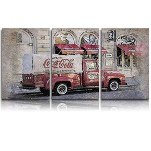 3 Pieces Canvas Print Wall Art for Office/Livingroom/Bedroom Red Coca Cola car Under Old Texture Stretched and Framed Modern Giclee Artwork Wall Decor 12x20inx3