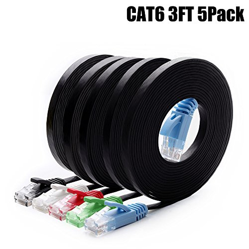 Cat6 Ethernet Cable 3 FT 5-Pack Multi Color, Intelart Cat-6 Flat RJ45 Computer Internet Lan Network Ethernet Patch Cable Cord - 3 Feet