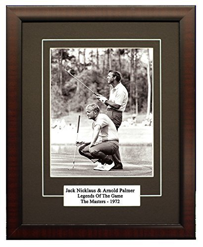 A Young Jack Nicklaus & Arnold Palmer Sharing a Laugh On The Green During the Masters in 1972. 8x10 Framed Photograph